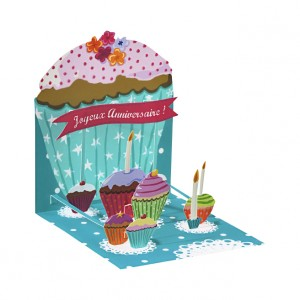 carte, pop up, cupcakes, anniversiare, création, télécharger